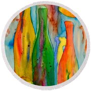 Bottles And Lemons Round Beach Towel