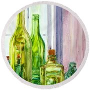 Bottles - Shades Of Green Round Beach Towel
