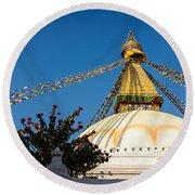 Boudhanath Stupa Round Beach Towel