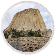 Round Beach Towel featuring the photograph Boulder Field Beneath Devils Tower National Monument Wyoming Usa by Shawn O'Brien