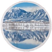 Boulder Reservoir Flatirons Reflections Boulder Colorado Round Beach Towel