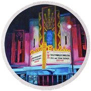 Round Beach Towel featuring the painting Boulder Theater by Tom Roderick