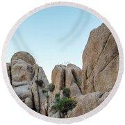 Boulders In A Desert, Joshua Tree Round Beach Towel