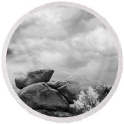 Boulders In Another Light Round Beach Towel