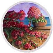 Bountiful Bougainvillea Round Beach Towel by Laurie Morgan