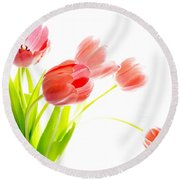 Tulips Flower Bouque In Digital Watercolor Round Beach Towel