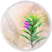 Flower In Digital Watercolor Round Beach Towel