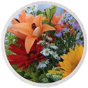 Round Beach Towel featuring the photograph Bouquet Of Flowers by Geraldine DeBoer