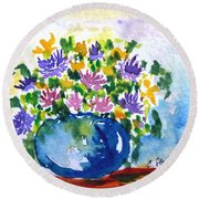 Bouquet Of Flowers In A Vase Round Beach Towel