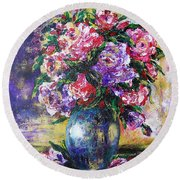 Bouquet Of Scents Round Beach Towel by Vesna Martinjak