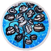Bouquet Of White Poppies Round Beach Towel