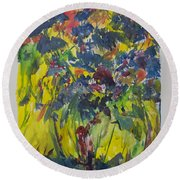 Round Beach Towel featuring the painting Bouquet With Blue Flowers by Avonelle Kelsey