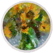 Round Beach Towel featuring the painting Bouquet With Sunflowers by Dragica  Micki Fortuna