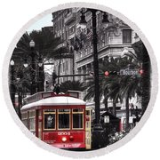 Bourbon And Canal Trolley Cropped Round Beach Towel