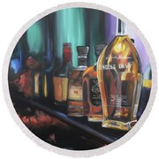 Bourbon Bar Oil Painting Round Beach Towel