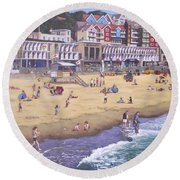 Bournemouth Boscombe Beach Sea Front Round Beach Towel