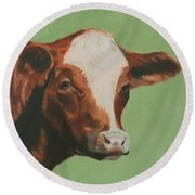 Bovine Beauty Round Beach Towel