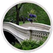 Bow Bridge Flower Pots - Central Park N Y C Round Beach Towel by Christiane Schulze Art And Photography