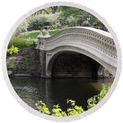Bow Bridge Iv Round Beach Towel by Christiane Schulze Art And Photography
