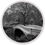 Bow Bridge Nyc In Black And White Round Beach Towel by Christiane Schulze Art And Photography