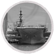 Bow Of The Uss Midway Museum Cv 41 Aircraft Carrier - Black And White Round Beach Towel