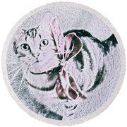 Bow Tie Kitty Round Beach Towel by Lisa Brandel