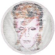 Bowie Typo Round Beach Towel by Taylan Apukovska