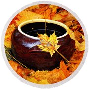 Round Beach Towel featuring the photograph Bowl And Leaves by Rodney Lee Williams