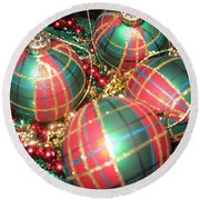 Bowl Of Christmas Colors Round Beach Towel