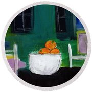 Bowl Of Oranges- Abstract Still Life Painting Round Beach Towel