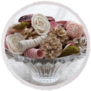 Bowl Of Potpourri On Lace Round Beach Towel by Connie Fox