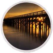 Bowman Bay Pier Sunset Round Beach Towel