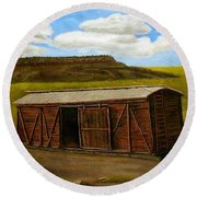 Round Beach Towel featuring the painting Boxcar On The Plains by Sheri Keith