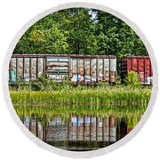 Boxcar Reflection Round Beach Towel