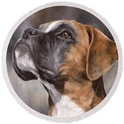 Boxer Painting Round Beach Towel