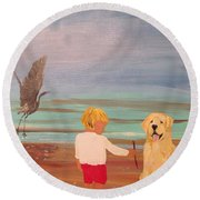 Boy And Dog Round Beach Towel