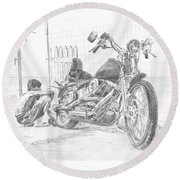 Boy And Motorcycle Round Beach Towel