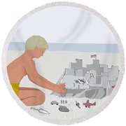 Boy And Sand Fort Round Beach Towel by Fred Jinkins