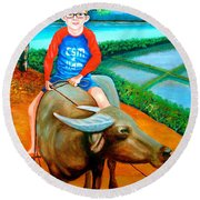 Boy Riding A Carabao Round Beach Towel