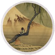 Boy Viewing Mount Fuji Round Beach Towel