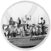 Boys Hold Up Their Fish Round Beach Towel by Underwood Archives