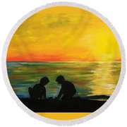 Boys In The Sunset Round Beach Towel