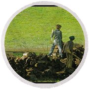 Round Beach Towel featuring the photograph Boys Will Be Boys by Kathy Barney