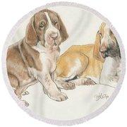 Bracco Italiano Puppies Round Beach Towel
