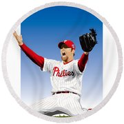 Brad Lidge Champion Round Beach Towel