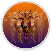 Brahman Cow Round Beach Towel