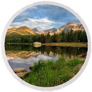 Brainard Lake Reflections Round Beach Towel