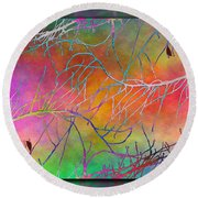 Branches In The Mist 4 Round Beach Towel