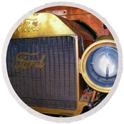 Round Beach Towel featuring the photograph Brass Eye by Larry Bishop
