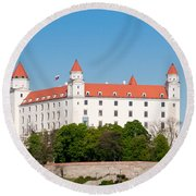 Round Beach Towel featuring the photograph Bratislava Castle by Les Palenik